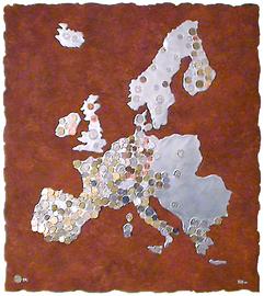 1€PA, holz - epoxidharz - münzen - (stahlplatte- rostimitat), 78 cm x 88 cm