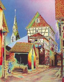 kronberg altstadt, kat. kirche, acryl auf leinwand, 70 cm x 90 cm