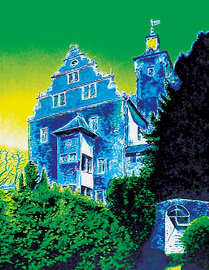 kronberg burg - prinzengarten, acryl auf leinwand, 70 cm x 90 cm