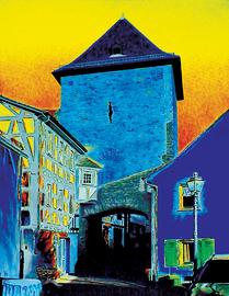 kronberg altstadttor west, acryl auf leinwand, 70 cm x 90 cm