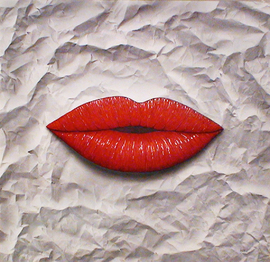 lippen, acryl auf leinwand, 95 cm x 95 cm