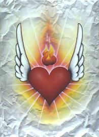 winged heart, acryl auf leinwand, 66 cm x 90 cm