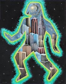 mann vor der stadt, acryl auf leinwand, 70 cm x 90 cm