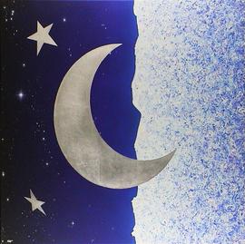 moonrise, acryl / schlagmetall-messing auf leinwand, 100 cm x 90 cm